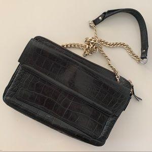 Zara vintage croc leather chain crossbody bag